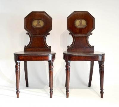 George III Mahogany Hall Chairs with Adair Armorials Pair