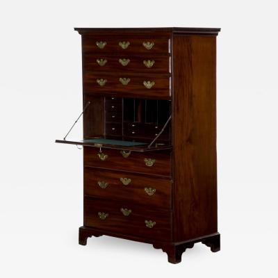 George III Mahogany Tall Chest with Secretary Desk c 1780