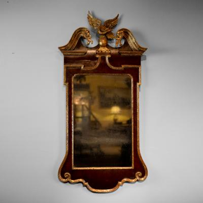 George III Mahogany and Parcel gilt mirror