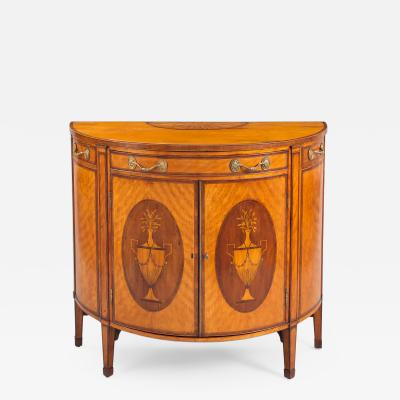 George III Satinwood Demi Lune Console Cabinet Circa 1790