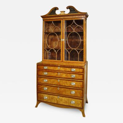 George III Satinwood Inlaid Secretaire Bookcase
