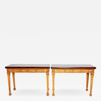 George III Style Giltwood and Mahogany Console Tables Pair