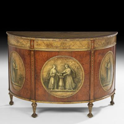 George III Style Painted Demi Lune Cabinet