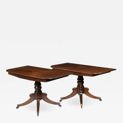 George III pair of mahogany console tables convert into a dining table