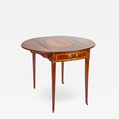 George III period burl yew and satinwood pembroke table