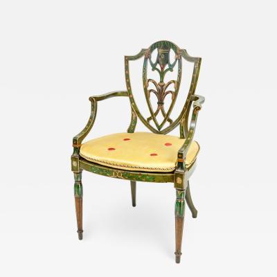 George III style painted shieldback armchair in the Hepplewhite manner
