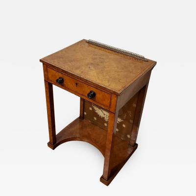 George IV Burr Elm Dressing Table With Silk Screen Circa 1825