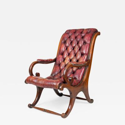 George IV Mahogany Sleigh Shaped Library Armchair