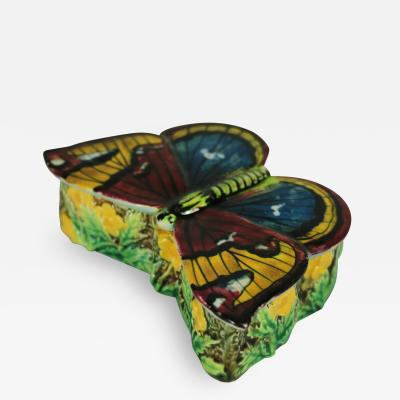 George Jones George Jones Majolica Butterfly Match Box