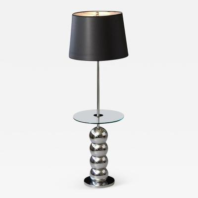 George Kovacs George Kovacs Stacked Chrome Ball Floor Lamp with Integrated Glass Table