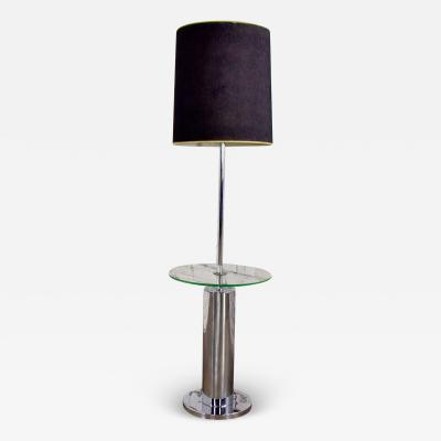 George Kovacs Modern chrome cylinder floor lamp with attached glass side table