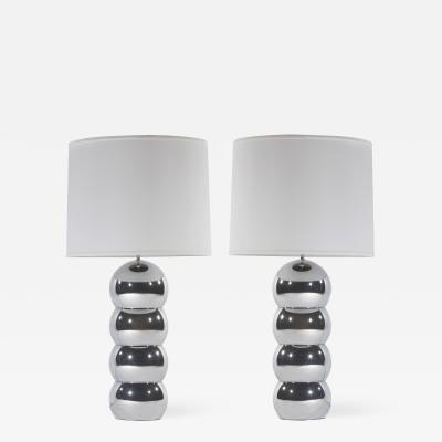 George Kovacs Pair of 1970s Chrome Stacked Ball Lamps by George Kovacs