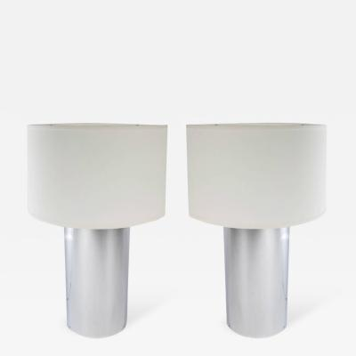 George Kovacs Pair of Large Chrome Cylinder Lamps by George Kovacs circa 1970s
