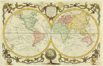 George L Miller A double hemisphere world map with Cooks three voyages