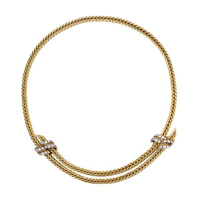 George LEnfant 1950s Adjustable Gold and Diamond Necklace Georges LEnfant for Herm s