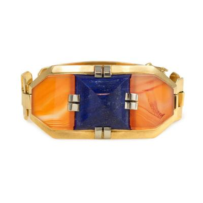 George LEnfant Georges LEnfant Art Deco Gold Lapis and Carnelian Bracelet