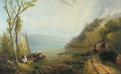 George Loring Brown Pastoral Landscape with Locomotive and Picnic Goers