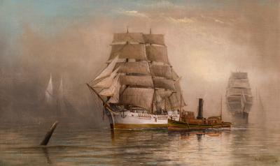 George M Hathaway Coming Through the Mists Maine Harbor