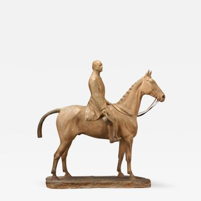 George Malissard A Terra Cotta Colored Plaster Portrait of a Gentleman on a Horse