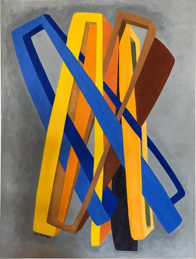 George Mullen Orange and Blue Abstract on Grey by George Mullen