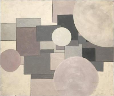 George Mullen Shades of Pink and Grey Geometric Shape Acrylic Painting by George Mullen