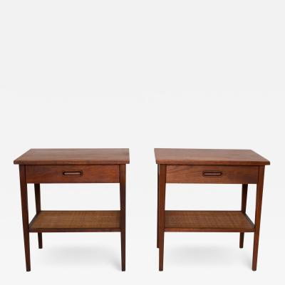 George Nakashima 1960s Midcentury Modern Nakashima Simple Style Walnut Nightstands with Cane USA