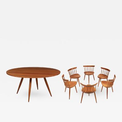 George Nakashima A Magnificent Early Set of Round Table with Mira Chairs by George Nakshima