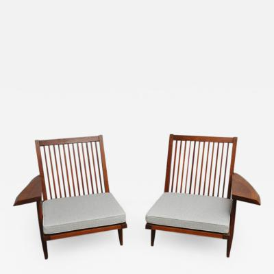 George Nakashima Cherry Spindle Back Lounge Chairs by George Nakashima with Live Edge Arms 1955