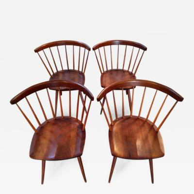 George Nakashima Early Set of Four Straight Back Chairs