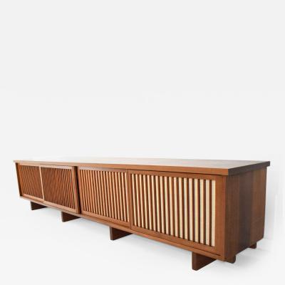 George Nakashima George Nakashima 10 Foot Wide Four Door Pandanus Cabinet in Walnut and Teak