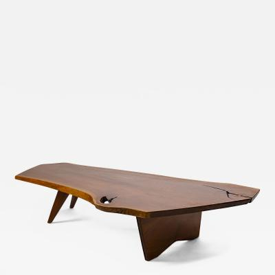 George Nakashima George Nakashima Conoid Coffee Table Free Edge English Walnut Slab 1963