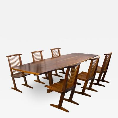 George Nakashima George Nakashima Conoid Dining Set in Sap Walnut with Free Form Edges 6 Chairs