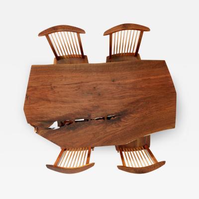 George Nakashima George Nakashima Conoid Dining Set with Single Board Walnut Surface