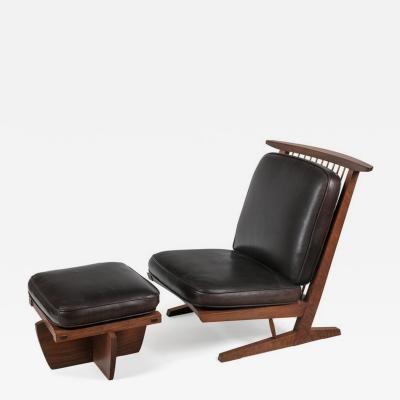 George Nakashima George Nakashima Conoid Lounge Chair and Ottoman with Leather Cushions