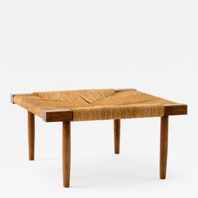 George Nakashima George Nakashima Fitch Stool Ottoman in Walnut with Grass Cord Seat