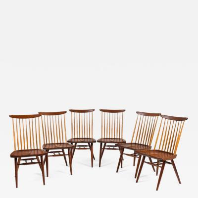 George Nakashima George Nakashima Set of Six Walnut and Hickory New Chairs