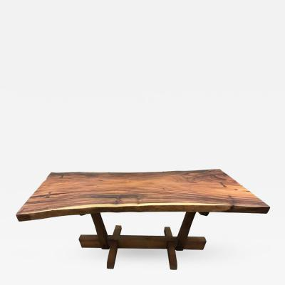 George Nakashima George Nakashima Style Conoid Dining Table With Free Edge Top