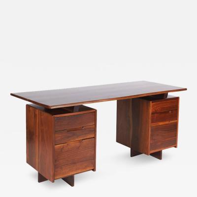 George Nakashima George Nakashima Walnut Double Pedestal Desk 1977