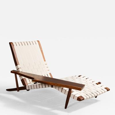 George Nakashima Long Chair with Single Free Form Arm by George Nakashima