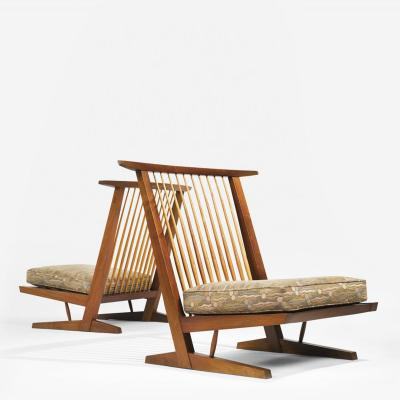 George Nakashima Chairs george nakashima - pair of conoid cushion chairs
