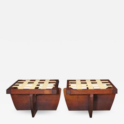 George Nakashima Pair of Greenrock Ottomans 1989