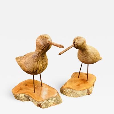 George Nakashima Pair of Hand Carved Wood Birds on a Wooden Base