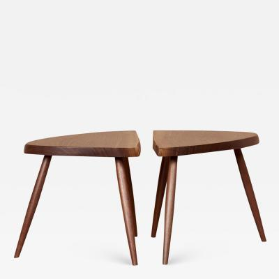 George Nakashima Pair of Nakashima Studio Mira Nakashima Wepman Side Tables in Walnut US 2021