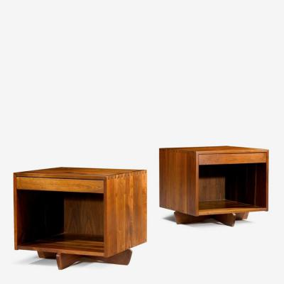 George Nakashima Pair of Oversized Swett Stands with Rare IP Base