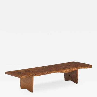 George Nakashima Rare English Oak Burl Bench Coffee Table by George Nakashima 1966