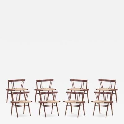 George Nakashima Set of Eight Grass Seated Dining Chairs by George Nakashima
