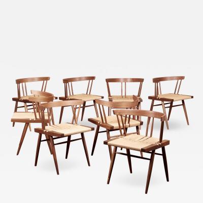 George Nakashima Set of Eight Grass Seated Dining Chairs by George Nakashima Studio US 2021