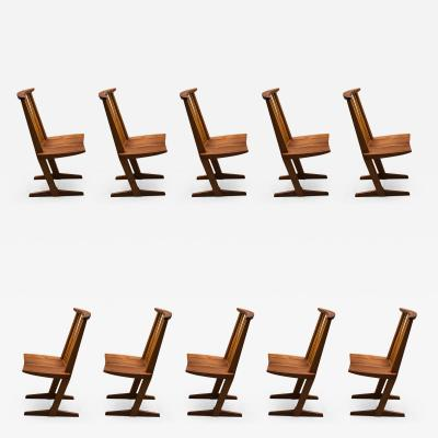 George Nakashima Set of Ten Conoid Chairs by George Nakashima 1982