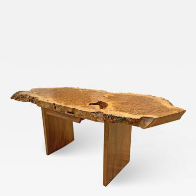 George Nakashima Spectacular Custom English Oak Burl Desk by George Nakashima 1973