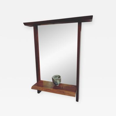 George Nakashima UNIQUE CUSTOM MIRROR WITH CONSOLE SHELF 1963